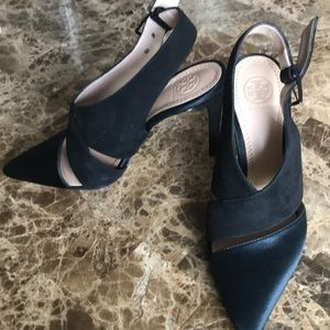 Tory Burch suede and satin heels